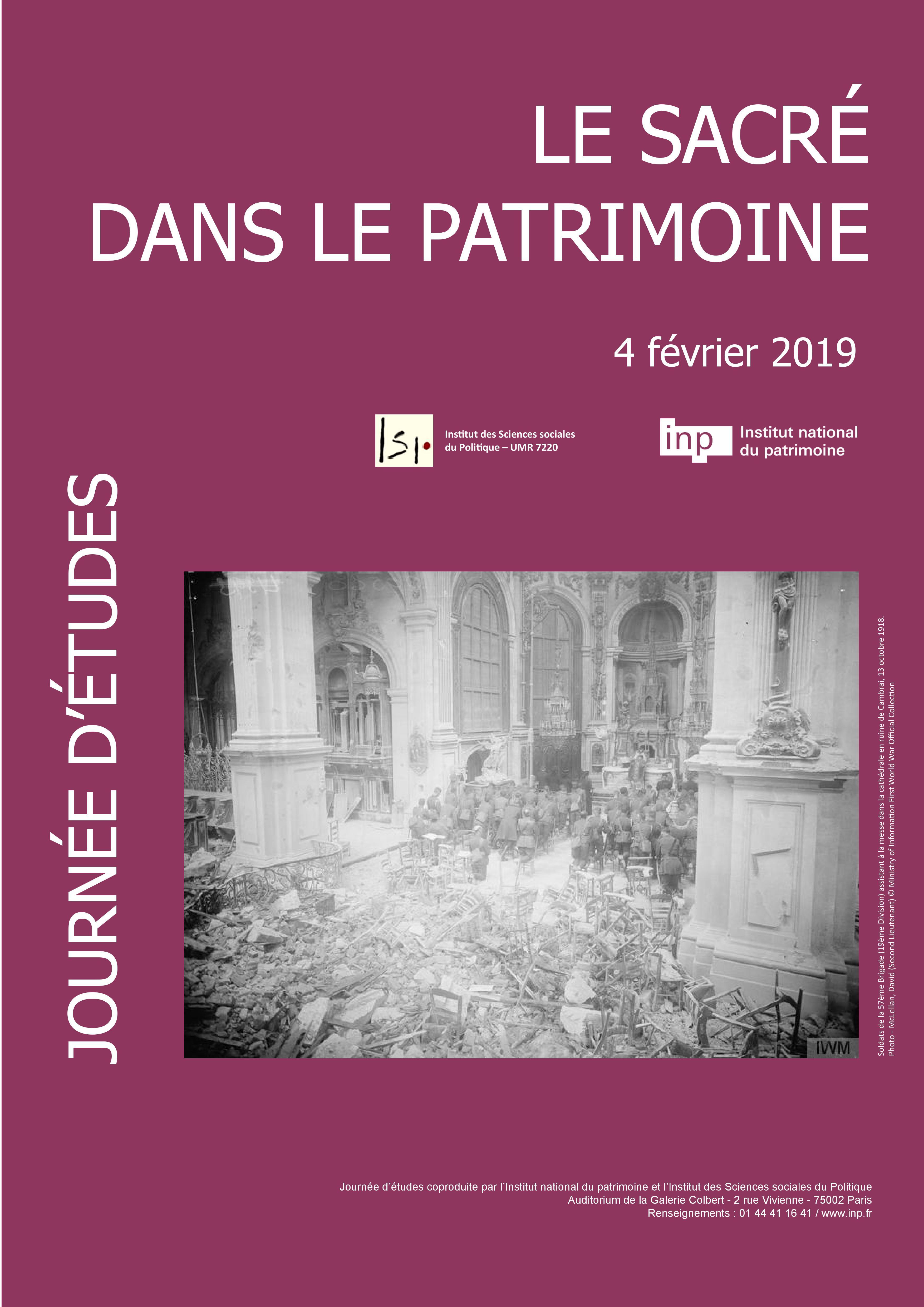 """Journée D'études: """"le Sacré Dans Le Patrimoine"""" Le 4"""